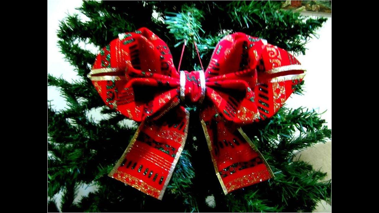 Mo os navide os en cintas dise o de hojas dobles youtube - Cintas navidad para arbol ...