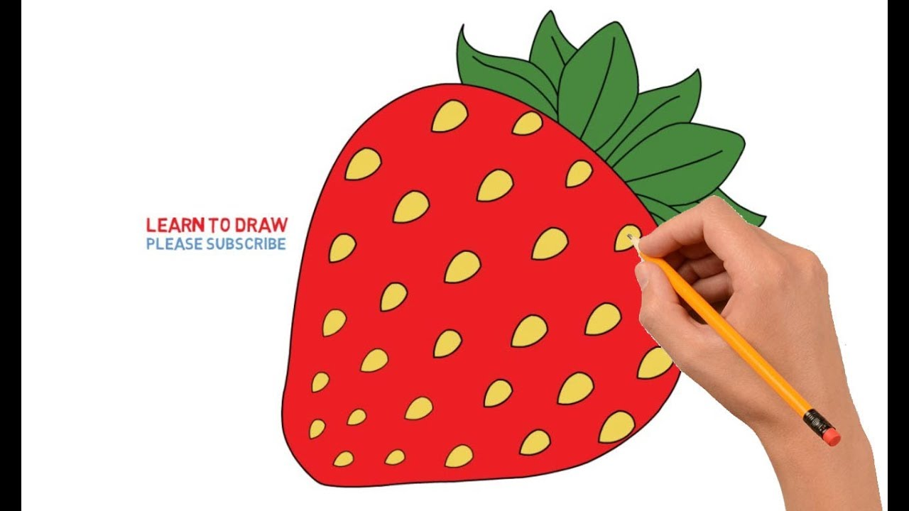 how to draw strawberry step by step easy for kids youtube