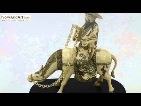 Mammoth ivory Figurine - Japanese Man Riding On A horse