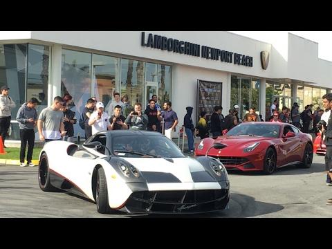 pagani huayra and laferrari shut down newport beach car show - youtube