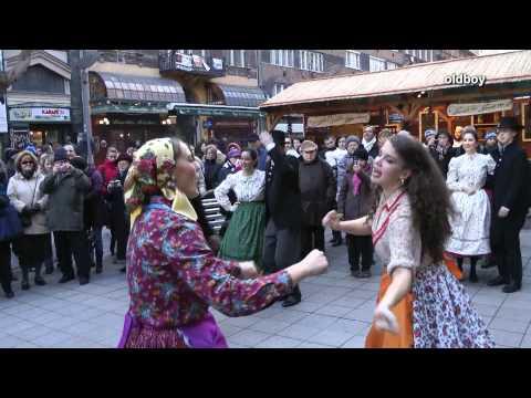 Street folk dance Budapest Hungary
