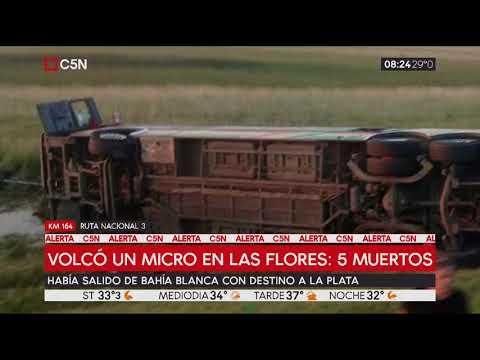 Cinco muertos y 29 heridos al volcar micro en Las Flores
