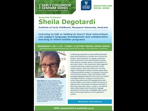 AP Sheila Degotardi (Australia): Learning to talk or talking to learn?