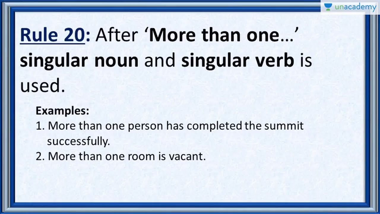 Subject Verb Agreement Rule 20 Usage Of More Than One In Hindi