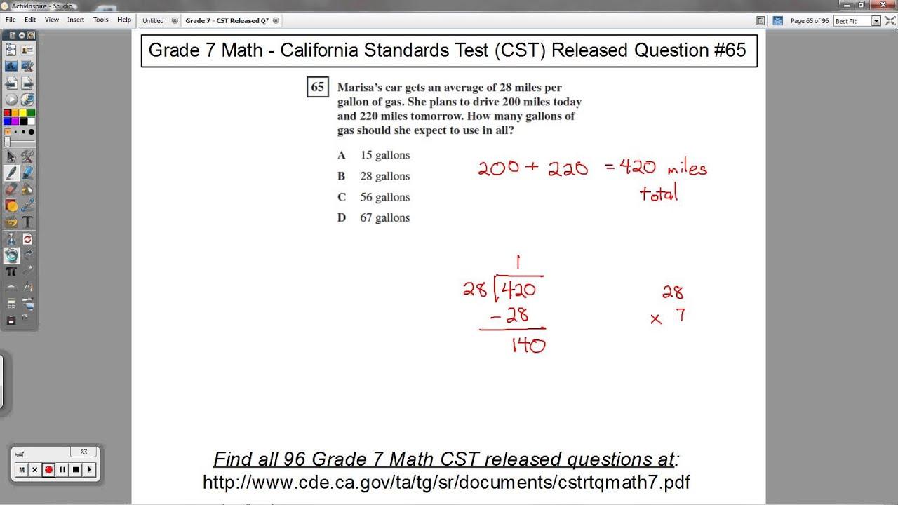 Grade 7 Math - CST Released Question #65 (Miles Per Gallon Problems)