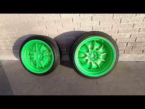 Green Gold Pearlizer Plasti Dip Over Blaze Green Base Spray Paint Can.