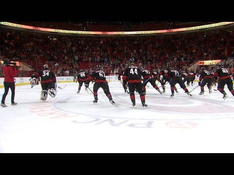 Justin Williams leads the Hurricanes' team celebration