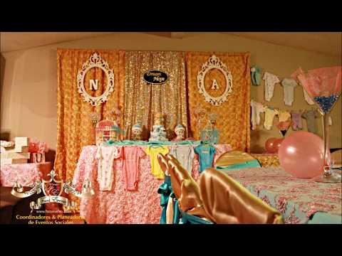 Faos events decoracion para baby shower aqua rosa y - Decoracion para la pared ...