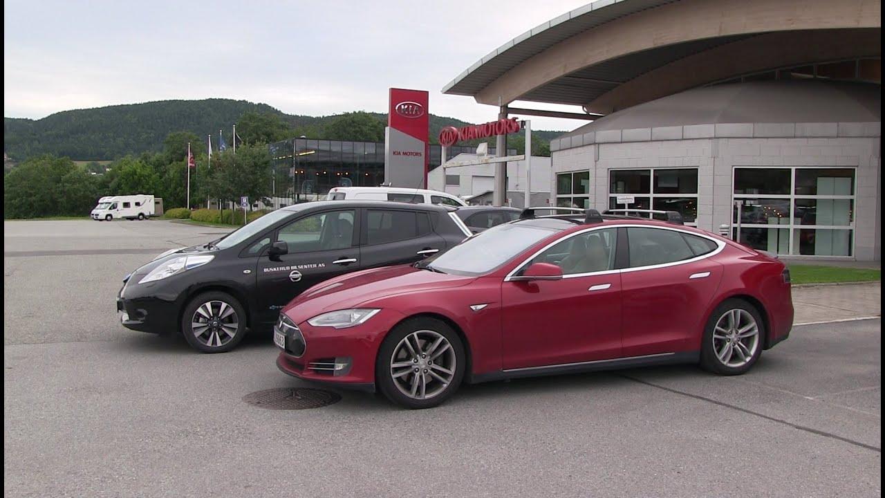 Motorway Consumption Test Nissan Leaf Vs Tesla Model S
