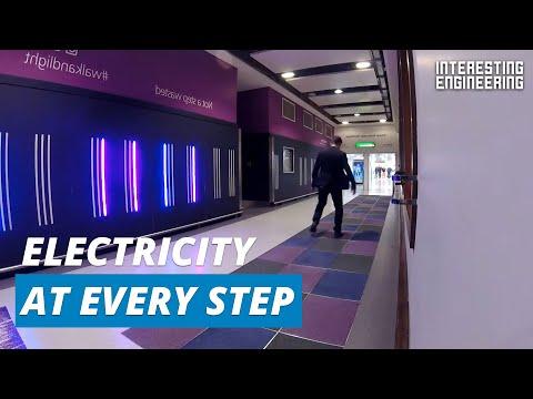 Floor tiles convert footsteps into electricity
