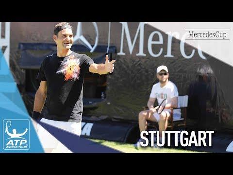 Federer First Grass Practice Stuttgart 2017
