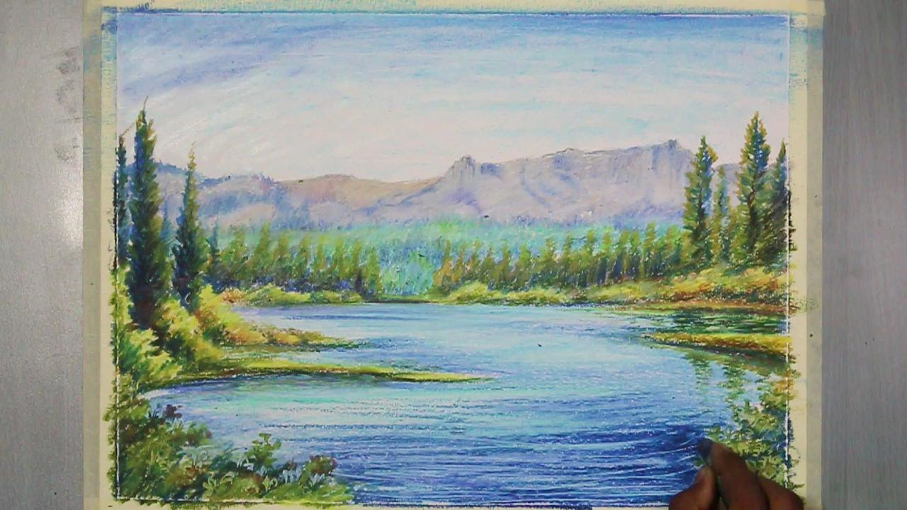 How To Paint A Mountain Landscape In Oil Pastel Youtube