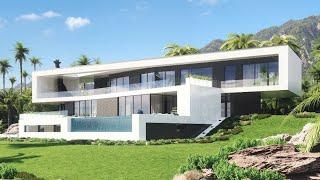 Элитный дом в стиле минимализм для видового участка на склоне | Строительство элитных домов | M-386