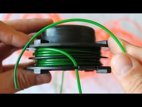 Как заправлять леску в катушку триммера видео