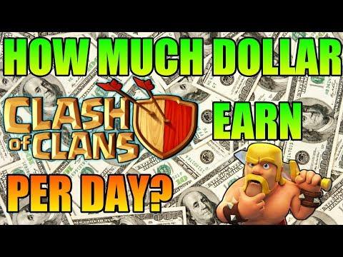 HOW MUCH DOLLAR EARN CLASH OF CLANS PER DAY?   1.5M DOLLAR?  