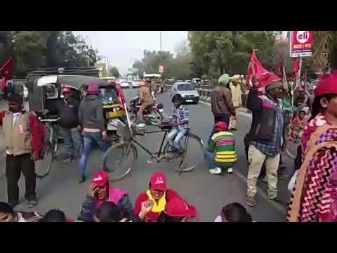 CITU members protest in Bathinda: Video: Pawan Sharma
