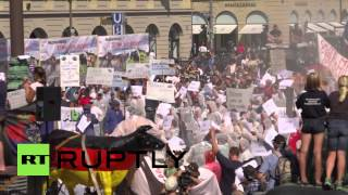 Germany: Milk farmers block streets of Munich in dairy price protest