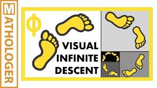The golden ratio spiral: visual infinite descent
