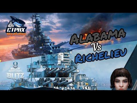WOWS BLITZ ФЛОТ СТРАХ: Alabama vs Richelieu