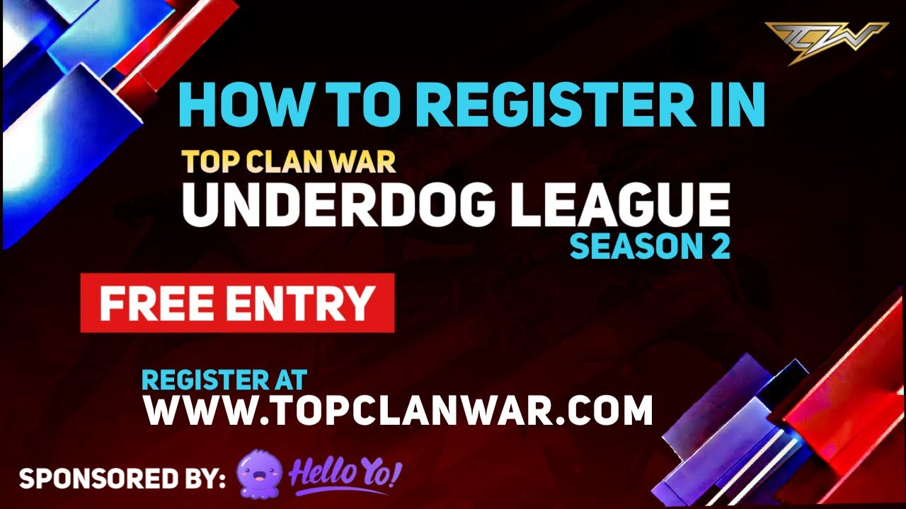 How To Register In TCW Underdog League S2 - TCWUL | Hello Yo | Top Clan War | PRIZE 50,000pkr