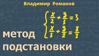 алгебра СИСТЕМЫ УРАВНЕНИЙ - МЕТОД ПОДСТАНОВКИ