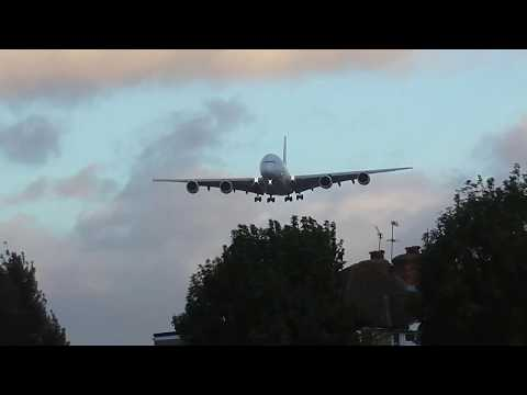Malaysia Airlines A380 on final for Heathrow during Storm Brian