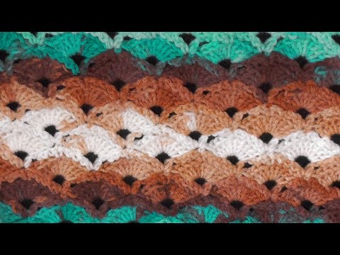 Diagonal Shells Crochet Stitch – Right Handed Crochet Tutorial