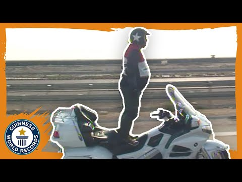 90 km/h standing motorbike ride! - Guinness World Records