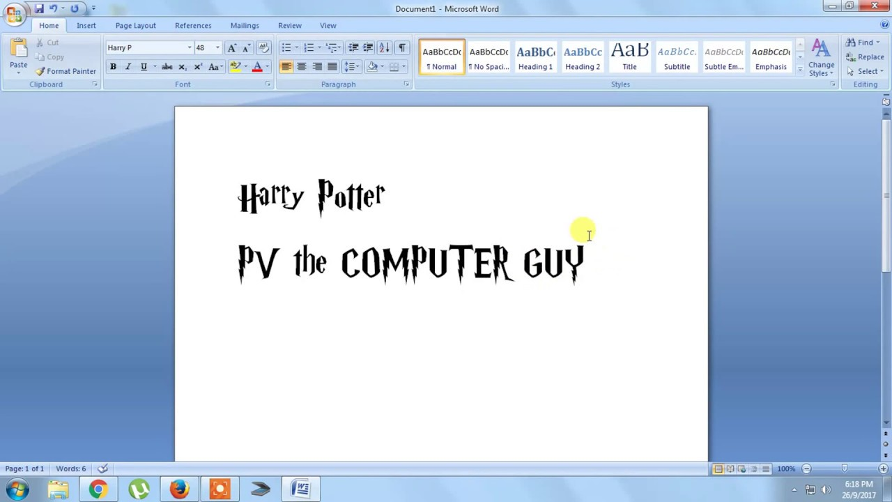 How To Install Harry Potter Font On Your Pc Youtube