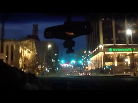 Driving in Downtown Omaha Nebraska. March 25, 2016