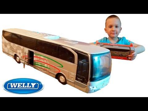 Машинки Велли Автобус Мерседес Распаковка игрушки Welly Mercedes Benz Travego