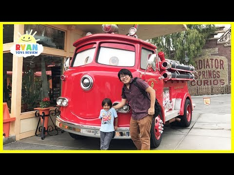 Thumbnail: Giant Disney Cars Red Fire Trucks and Amusement Rides at DisneyLand