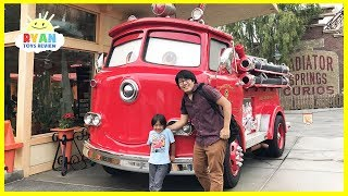 Giant Disney Cars Red Fire Trucks and Amusement Rides at DisneyLand