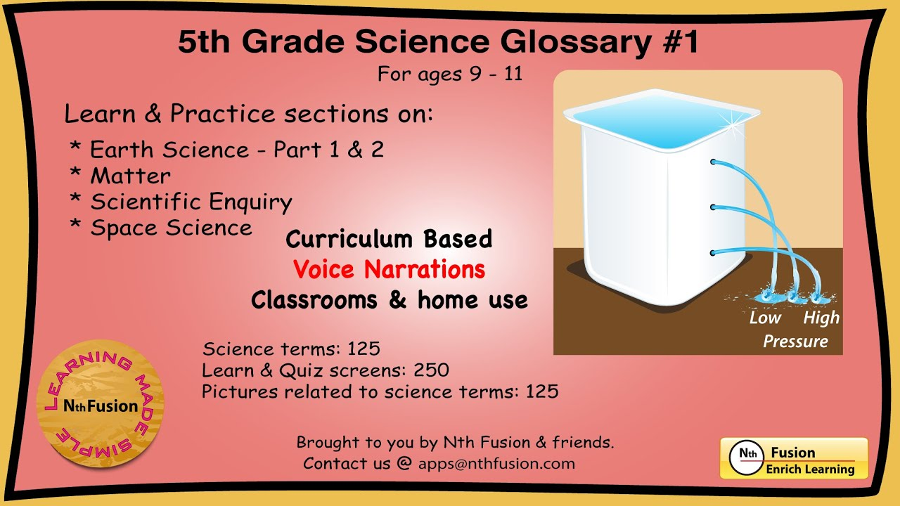 5th Gr De Science Gloss Ry 1 Le Rn Nd Pr Ctice W Ksheets