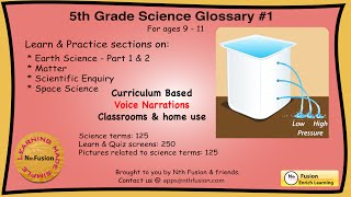 5th Grade Science Glossary # 1 : Learn and Practice Worksheets for home and classroom