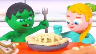 SUPERHERO BABIES CHEFS ❤ Spiderman, Hulk & Frozen Play Doh Cartoons For Kids
