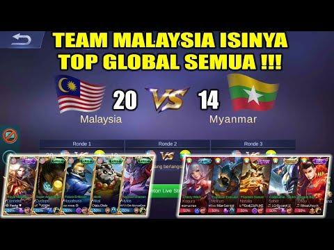 GILA !!! Team MALAYSIA Isinya Top Global Semua !!! AUTO WIN !!! MALAYSIA VS MYANMAR Arena Contest