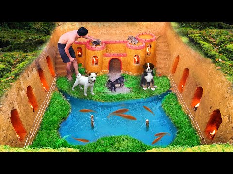 Build Underground House For Dog And Fish Pond Around House Puppy With Ancient Skills