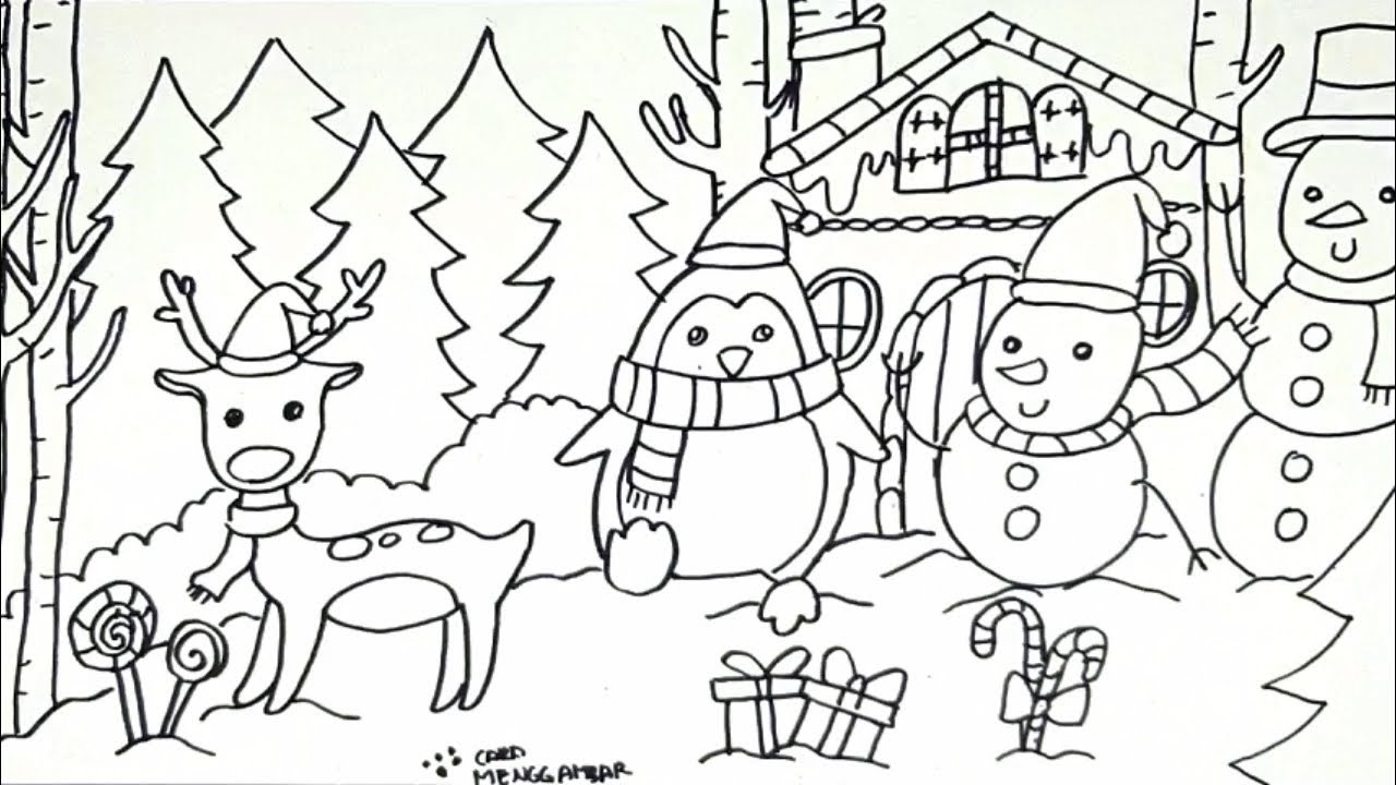 Cara Menggambar Dan Mewarnai Tema Suasana Natal Boneka Salju Snowman Dan Rusa Natal PART 1