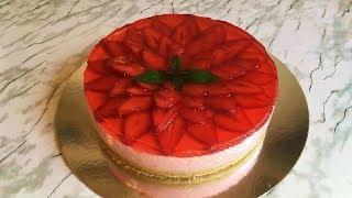 Клубничный Торт Без Выпечки(Вкусный и Легкий)/Торт с Клубникой/Strawberry Cake/Пошаговый Рецепт