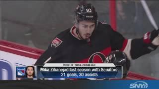 Mika Zibanejad reacts to Rangers trade