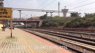 A normal super fast express OVERTAKES a premium train at BYPL!! Sheshadri overtakes HUMSAFAR!!