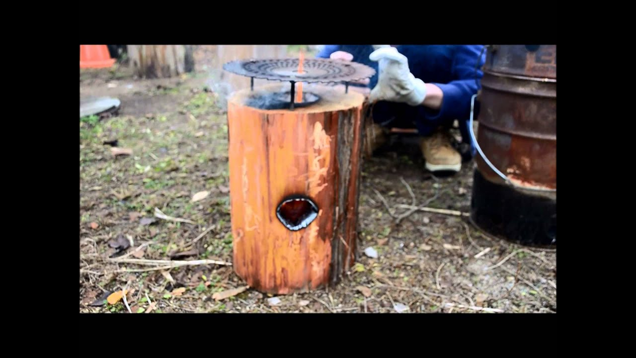 Log Rocket Stove - YouTube
