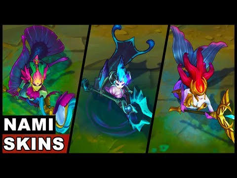 All Nami Skins Spotlight SKT T1 Deep Sea River Spirit Urf Koi (League of Legends)