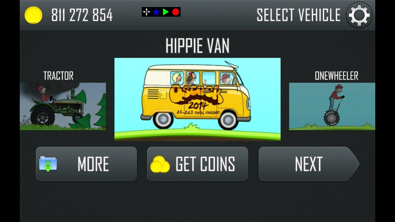 Hill climb racing updated new hippie van and rainbow track 1 17 0 youtube