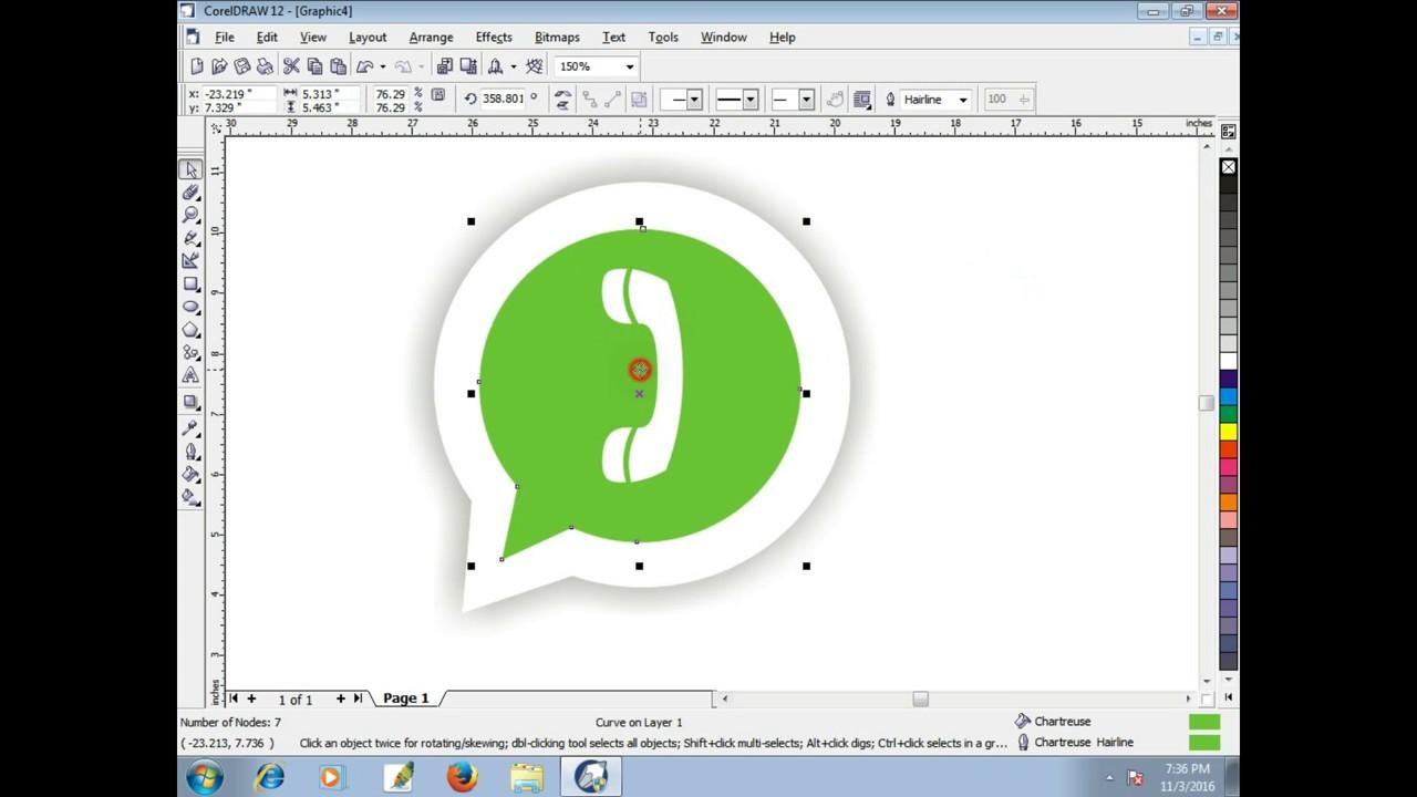 easy whatsapp logo in coreldraw for beginners tech green