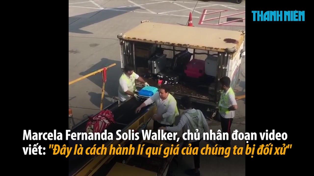 Sốc với cảnh nhân viên sân bay thô bạo quăng hành lý