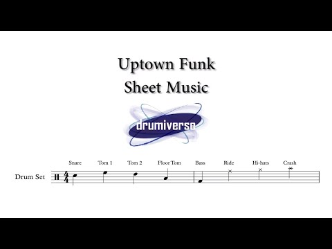 Uptown Funk by Mark Ronson Ft. Bruno Mars - Drum Score (Request #20)