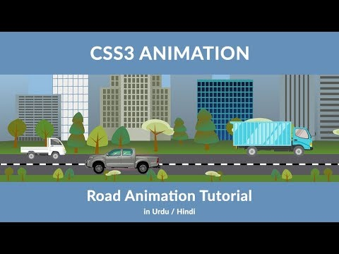 Animate City With CSS - CSS3 Animation - Create A Road Animation Urdu / Hindi Tutorial