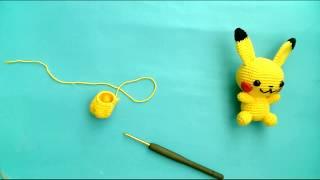 Amigurumi pikaçu yapımı gövde yapımı pikaçhu keychain pikaçhu key chain body making -8